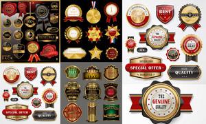 金色质感效果标签与奖章等矢量素材