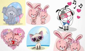 可爱卡通风动物主题创意矢量素材V2