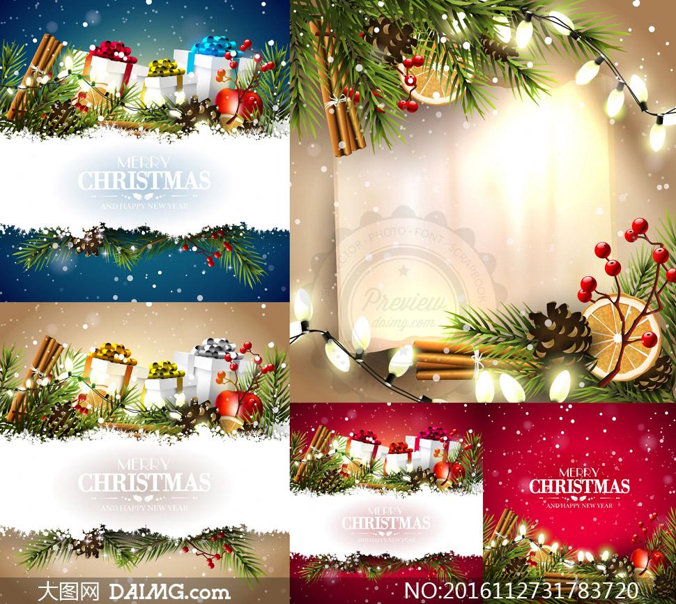 素材创意设计树枝彩灯灯泡榛果雪地白雪积雪礼物盒蜡烛桂皮雪花纸张