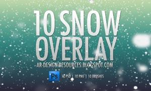 10款高清晰雪花和下雪效果PS笔刷