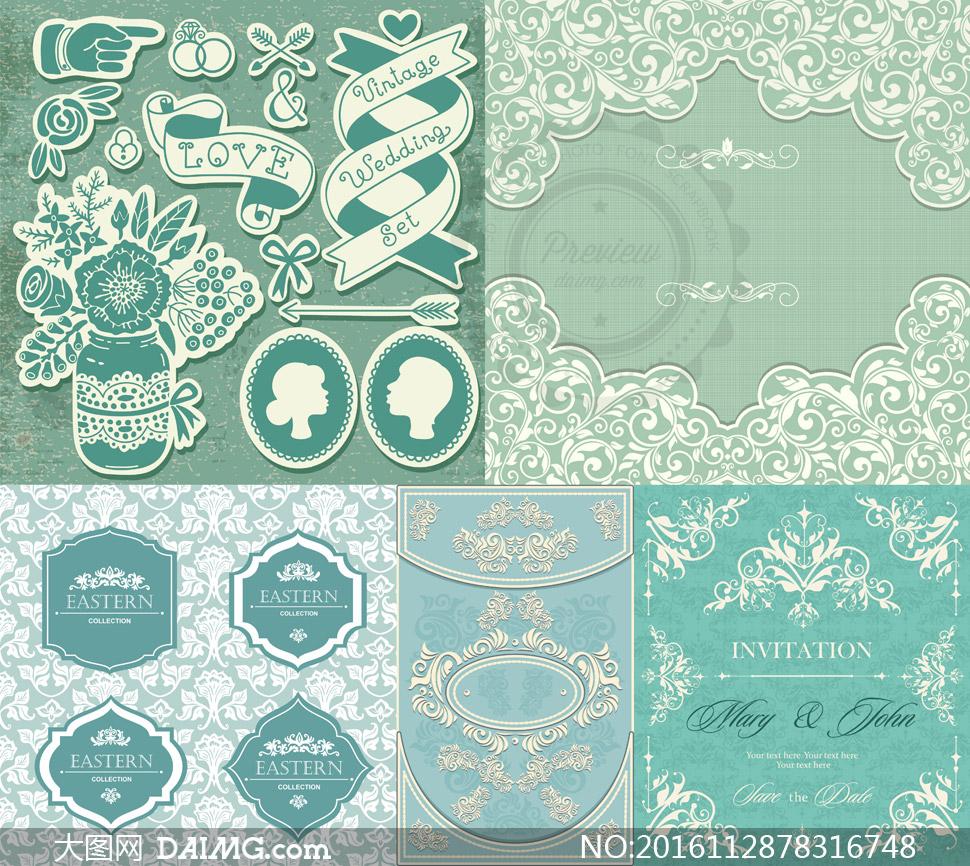 花纹图案 > 素材信息                          线描风格等花纹装饰