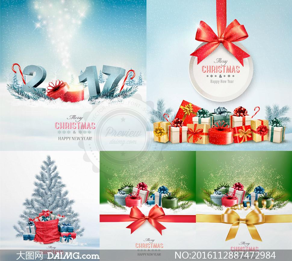 蝴蝶结圣诞树与礼物等圣诞矢量素材
