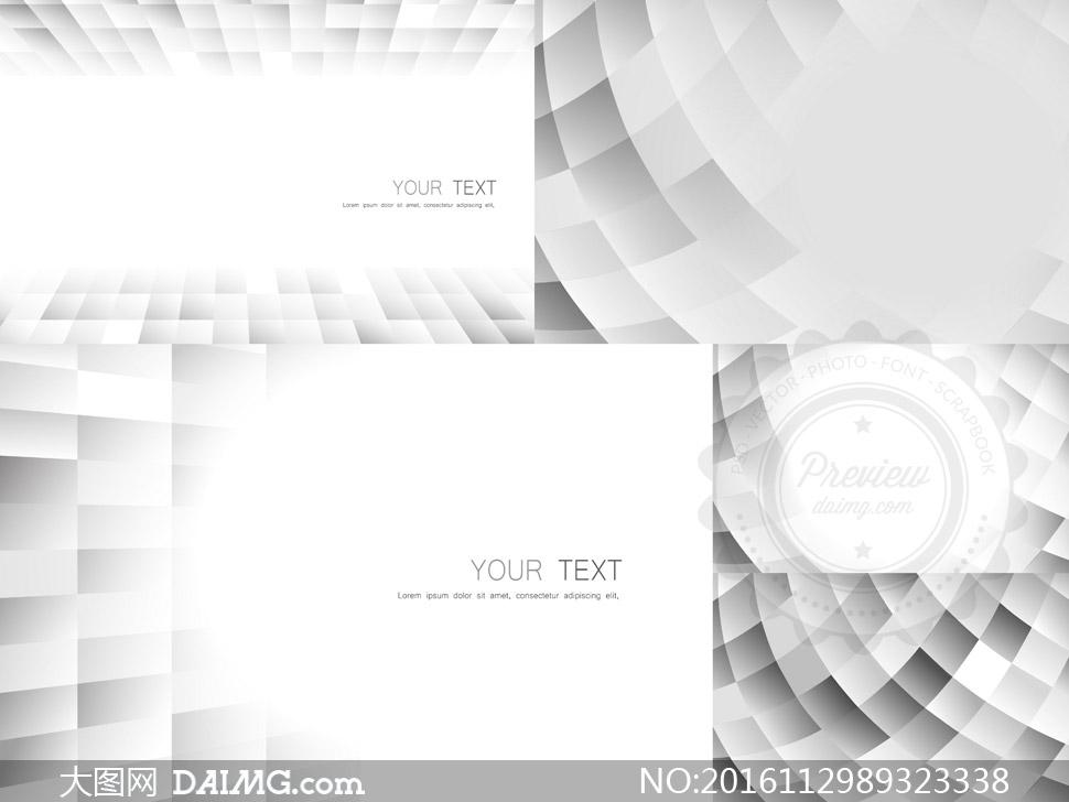 五款灰色抽象创意背景设计矢量素材