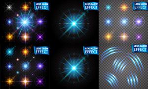 炫丽耀眼光效星光元素主题矢量素材