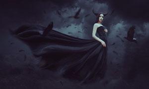 哥特式风格的女巫场景图PS教程素材