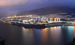绥江美丽夜景全景图摄影图片
