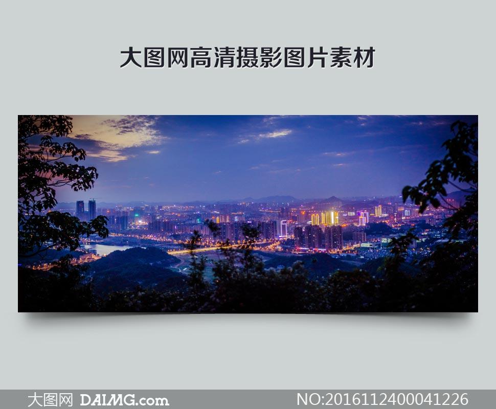 长沙美丽的夜景全景图摄影图片