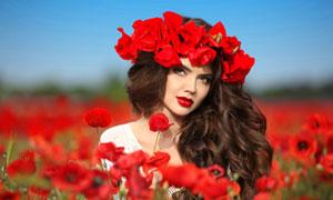 头戴着花环的浓妆美女摄影高清图片