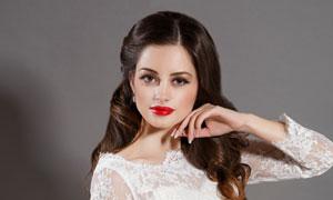 红唇浓妆美女新娘人物摄影高清图片