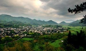 黄山西递古村落美丽风景摄影图片