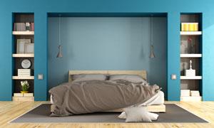 卧室书架置物架与大床摄影高清图片