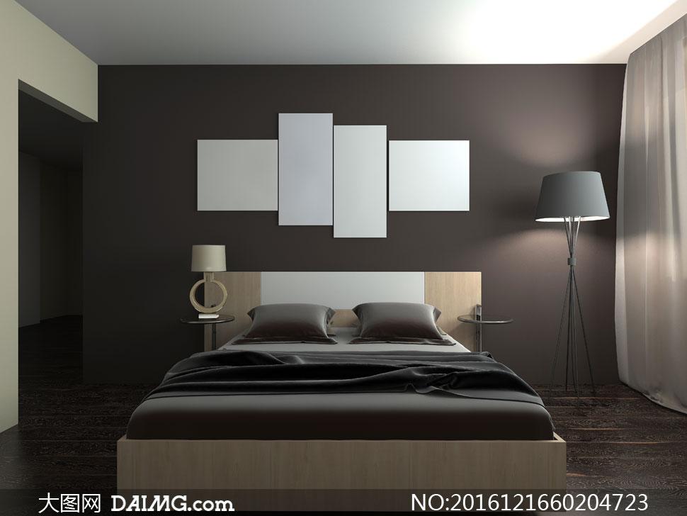 现代风格卧室内景布置摄影高清图片