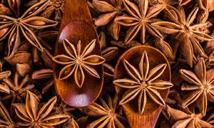 木质勺与精选品质八角摄影高清图片