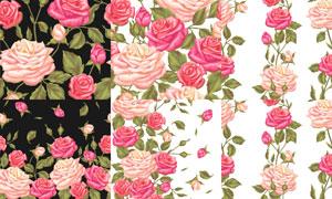 手绘风格逼真效果玫瑰花朵矢量素材