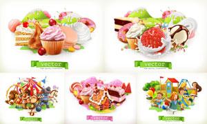 游乐设施与水果冰淇淋蛋糕矢量素材