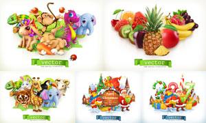 圣诞老人与动物水果等创意矢量素材