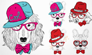 时尚装扮素描动物们创意矢量素材V1