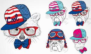 时尚装扮素描动物们创意矢量素材V2