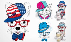 时尚装扮素描动物们创意矢量素材V3