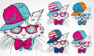时尚装扮素描动物们创意矢量素材V4
