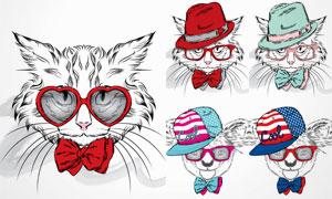 时尚装扮素描动物们创意矢量素材V5
