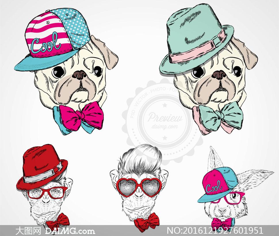 时尚装扮素描动物们创意矢量素材v6
