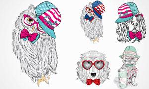 时尚装扮素描动物们创意矢量素材V7