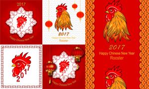 质感公鸡图案与新年红灯笼矢量素材