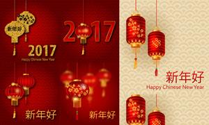 红灯笼与新年喜庆底纹背景矢量素材