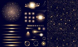 璀璨星光与光效装饰元素等矢量素材