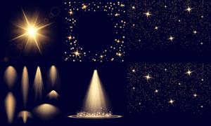 聚光灯与璀璨星光元素创意矢量素材