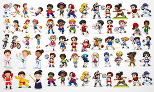 多种运动姿态的卡通儿童人物矢量图