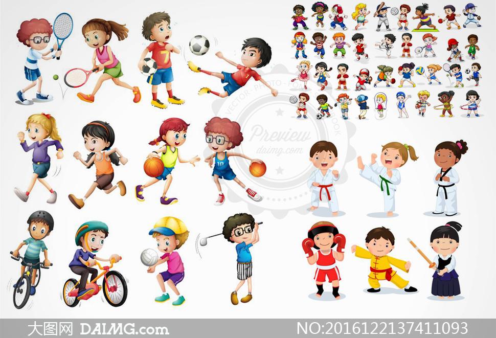 矢量图设计素材创意设计卡通儿童小女孩小男孩足球