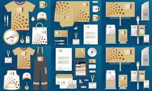 企业文化衫与桌旗手提袋等矢量素材
