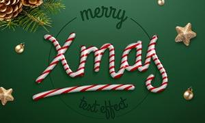 圣诞节糖果艺术字设计PSD模板