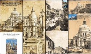 建筑物转素描和涂鸦背景效果PS动作