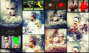 人像照片添加闪电和云朵特效PS动作