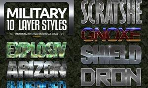 10款军队迷彩和金属质感PS字体样式