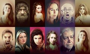 人物肖像转艺术绘画效果PS动作