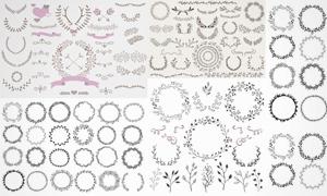 手绘风格植物花纹装饰边框矢量图V1