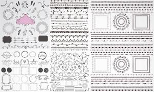 手绘风格植物花纹装饰边框矢量图V2