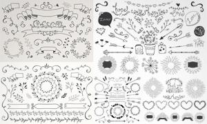 手绘风格植物花纹装饰边框矢量图V3
