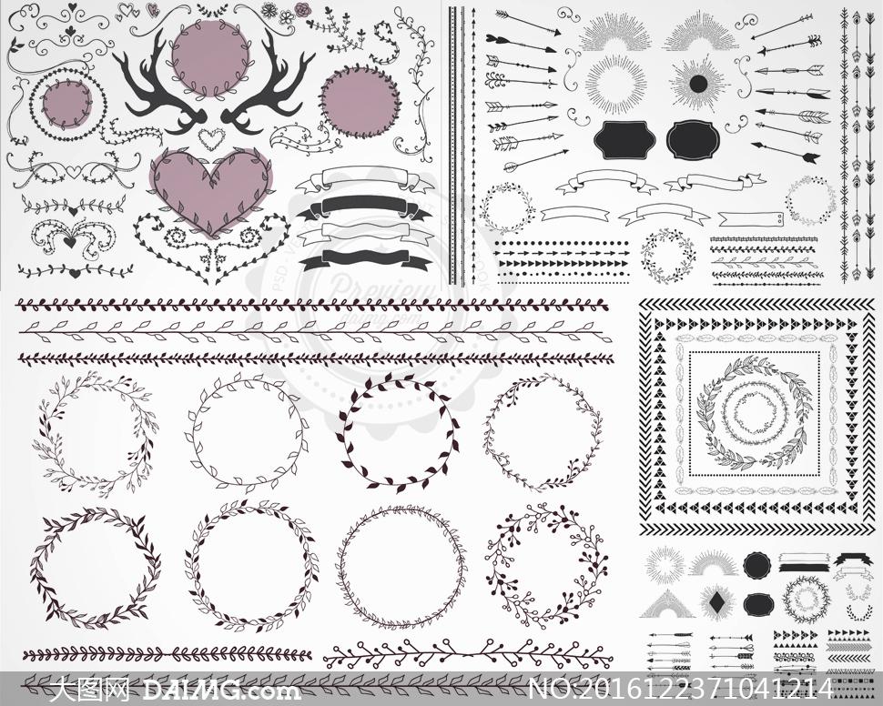 手绘风格植物花纹装饰边框矢量图v4