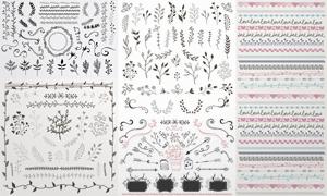 手绘风格植物花纹装饰边框矢量图V5