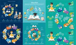 学习文具等环形创意信息图矢量素材