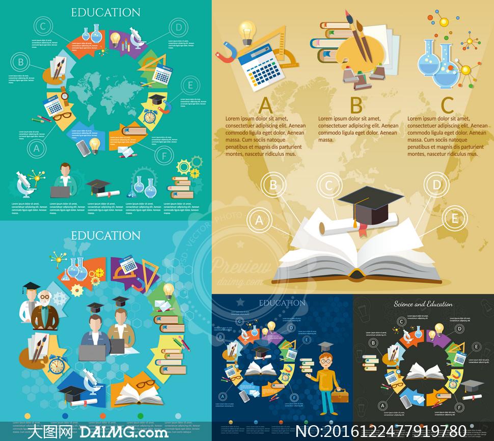 扁平化风格教育主题信息图矢量素材