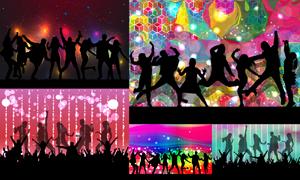 跳起舞蹈的激情人群剪影矢量素材V1