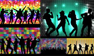 跳起舞蹈的激情人群剪影矢量素材V2