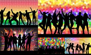 跳起舞蹈的激情人群剪影矢量素材V3