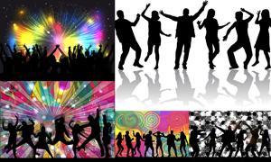 跳起舞蹈的激情人群剪影矢量素材V4